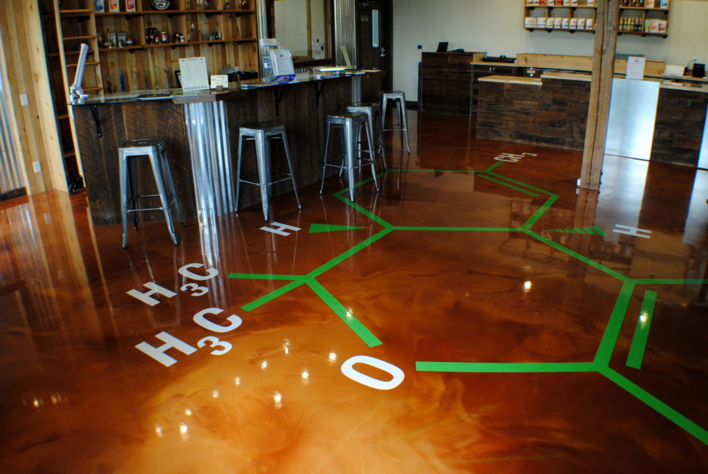 Marijuana Store with Designer Epoxy Floor and Embedded Logo