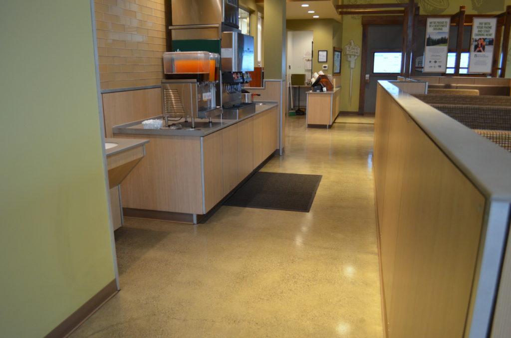 New Restaurant Lobby with Sealed Concrete Floor