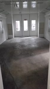 Original Concrete Floor in New Spray Booth