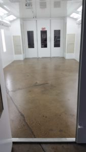 Spray Booth Floor After Prep and Primer
