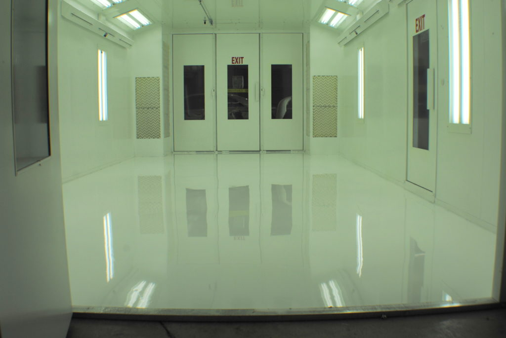 White Epoxy Floor in Auto Spray Booth