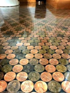 Pennies Coated with Clear Epoxy for a Floor