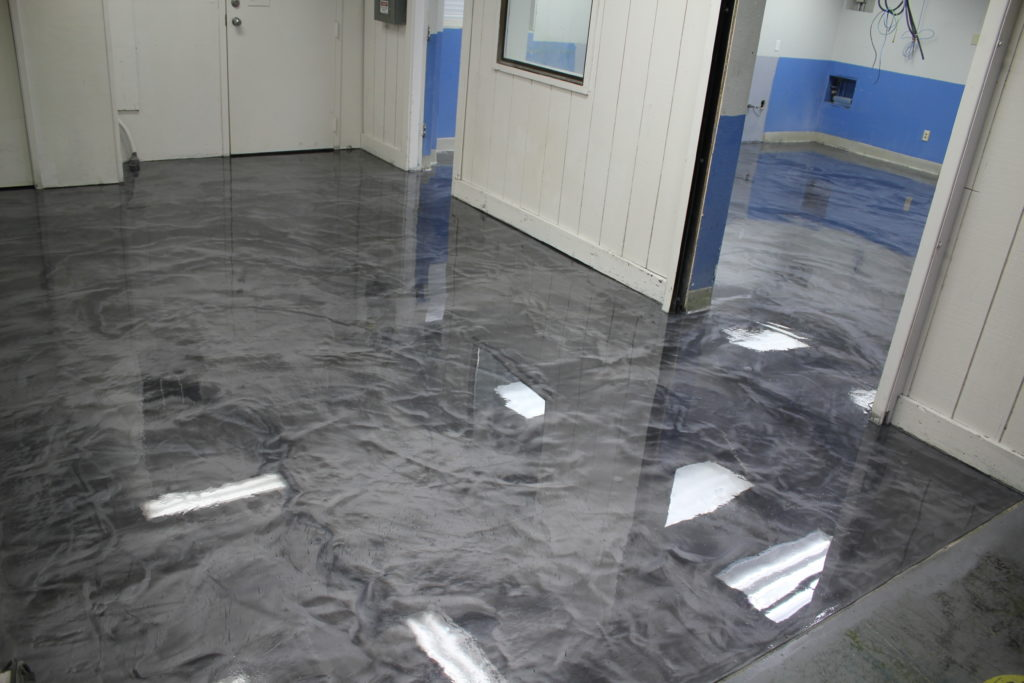 Completed Designer Epoxy Floor in Hallway and Ink Kitchen