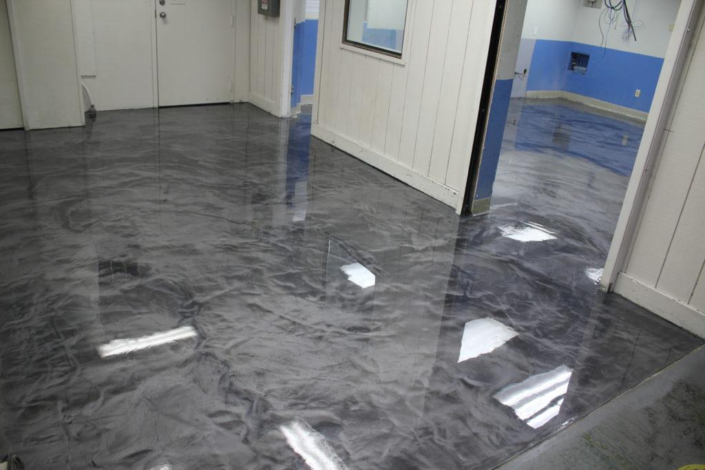 Completed Designer Epoxy Floor in Hallway and Ink Kitchen