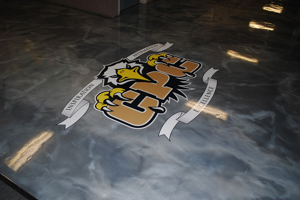 Metallic Epoxy School Hall with Embedded Logo