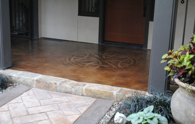 Stenciled Micro-topping Front Porch